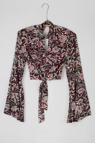 Olivaceous flower printed top