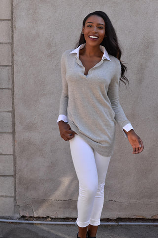 Cashmere feel collar shirt