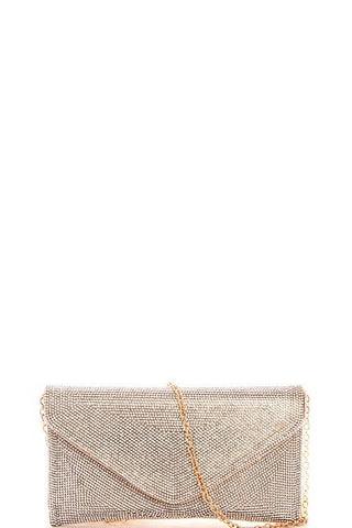 Rhinestone embroidered look clutch