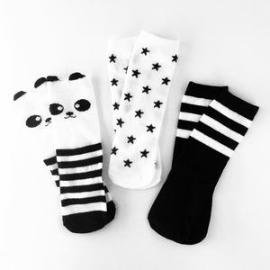 Cool_Kids_Black_And_White_Monochrome_Striped_Star_Panda_Fun_Baby_Toddler_Socks