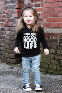 Livin That child hood life long sleeve hooded Cool Trendy Urban Kids Graphic Tee
