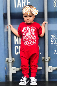 The Best Thing Since Sliced Pizza Red Romper Trendy Gender Neutral Kids Clothing
