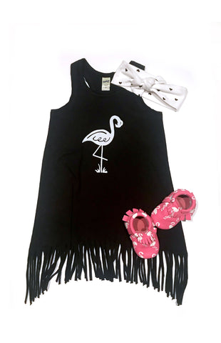 Flamingo - fringe tunic dress