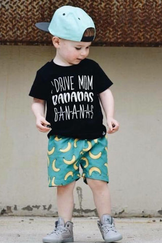 I Drive Mom Bananas, B-A-N-A-N-A-S kids monochrome graphic tee