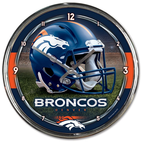 "Denver Broncos 12"" Chrome Wall Clock"