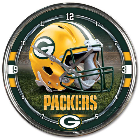 "Green Bay Packers 12"" Chrome Wall Clock"