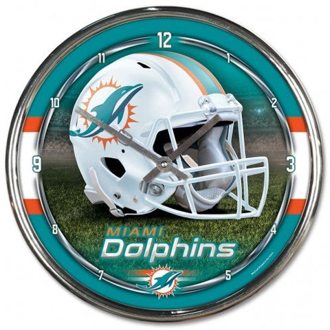"Miami Dolphins 12"" Chrome Wall Clock"
