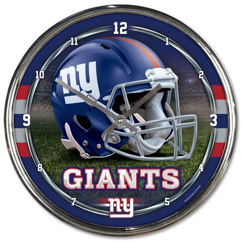 "New York Giants 12"" Chrome Wall Clock"