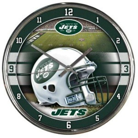 "New York Jets 12"" Chrome Wall Clock"