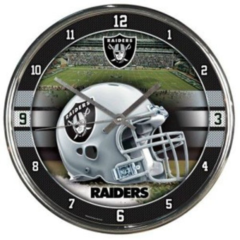 "Oakland Raiders 12"" Chrome Wall Clock"