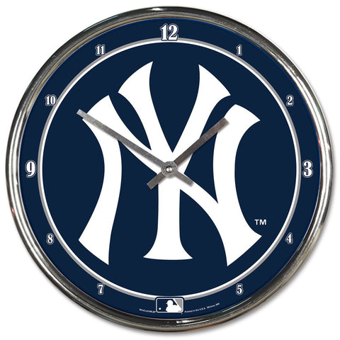New York Yankees Chrome Wall Clock