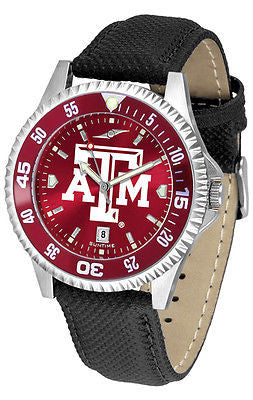 Texas A&M Aggies Men's Competitor AnoChrome Color Bezel Leather Band Watch