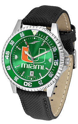 Miami Hurricanes Men's Competitor AnoChrome Color Bezel Leather Band Watch