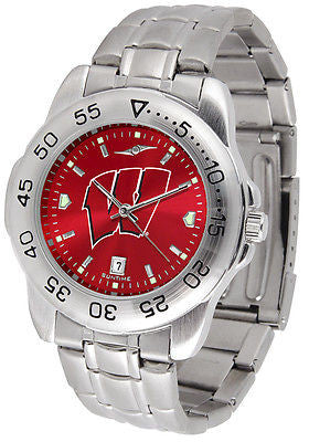 Wisconsin Badgers Men's Stainless Steel Sports AnoChrome Watch