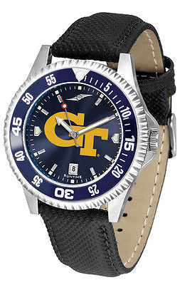 Georgia Tech Men's Competitor AnoChrome Color Bezel Leather Band Watch