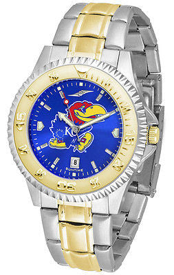 Kansas Jayhawks Men's Competitor Stainless Steel AnoChrome Two Tone Watch