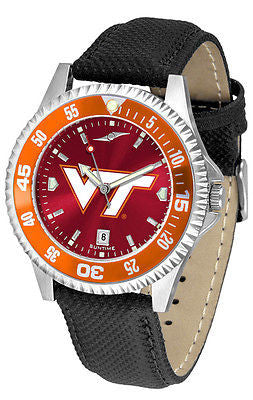 Virginia Tech Men's Competitor AnoChrome Color Bezel Leather Band Watch