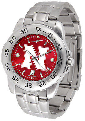 Nebraska Huskers Men's Stainless Steel Sports AnoChrome Watch
