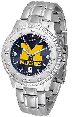Michigan Wolverines Men's Competitor Stainless Steel AnoChrome Watch