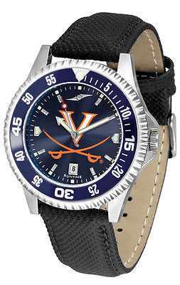 Virginia Cavaliers Men's Competitor AnoChrome Color Bezel Leather Band Watch
