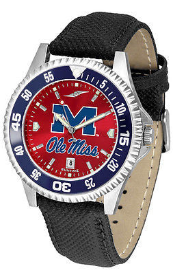 Mississippi Ole Miss Rebels Men's Competitor AnoChrome Color Bezel Leather Band Watch