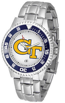 Georgia Tech Men's Competitor Stainless Steel AnoChrome with Color Bezel Watch