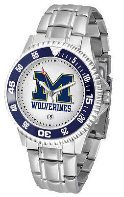 Michigan Wolverines Men's Competitor Stainless Steel AnoChrome with Color Bezel