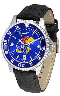 Kansas Jayhawks Men's Competitor AnoChrome Color Bezel Leather Band Watch