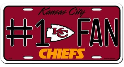 Kansas City Chiefs Metal Car Tag