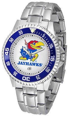 Kansas Jayhawks Men's Competitor Stainless AnoChrome with Color Bezel Watch