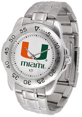 Miami Hurricanes Men's Sports Stainless Steel Watch