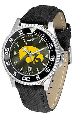 Iowa Hawkeyes Men's Competitor AnoChrome Color Bezel Leather Band Watch