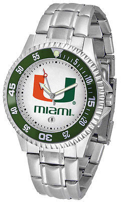 Miami Hurricanes Men's Competitor Stainless Steel AnoChrome with Color Bezel
