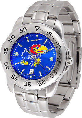 Kansas Jayhawks Men's Stainless Steel Sports AnoChrome Watch