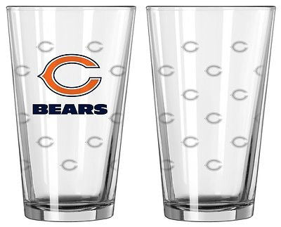 Chicago Bears Etched Pint Glass Set