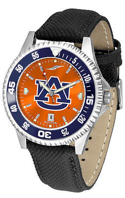 Auburn Tigers Men's Competitor AnoChrome Color Bezel Leather Band Watch