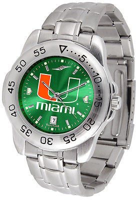 Miami Hurrcanes Men's Stainless Steel Sports AnoChrome Watch
