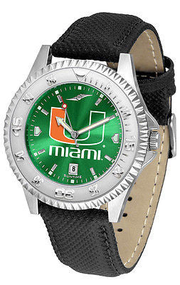 Miami Hurricanes Men's Competitor AnoChrome Leather Band Watch