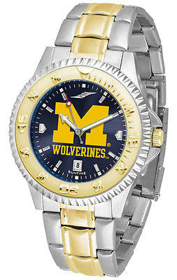 Michigan Wolverines Men's Competitor Stainless Steel AnoChrome Two Tone Watch