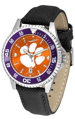 Clemson Tigers Men's Competitor AnoChrome Color Bezel Leather Band Watch