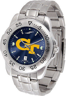 Georgia Tech Men's Stainless Steel Sports AnoChrome Watch