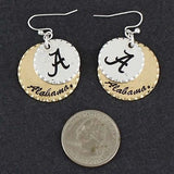 Alabama Roll Tide Round Disc Earrings