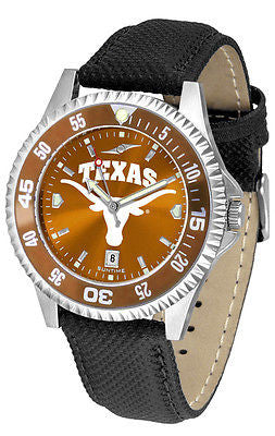 Texas Longhorns Men's Competitor AnoChrome Color Bezel Leather Band Watch