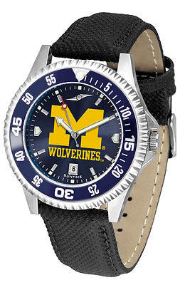 Michigan Wolverines Men's Competitor AnoChrome Color Bezel Leather Band Watch