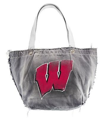 Wisconsin Badgers Light Gray Distressed Vintage Tote