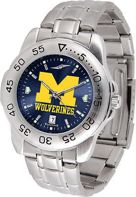 Michigan Wolverines Men's Stainless Steel Sports AnoChrome Watch