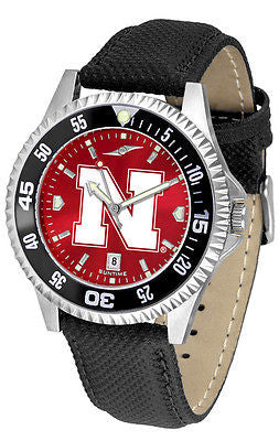 Nebraska Huskers Men's Competitor AnoChrome Color Bezel Leather Band Watch
