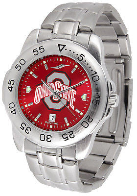 Ohio State Buckeyes Men's Stainless Steel Sports AnoChrome Watch