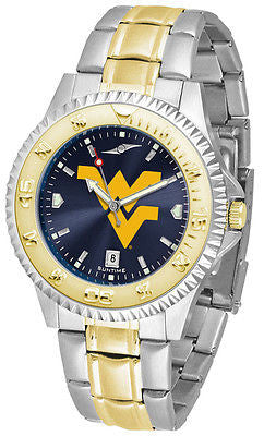 West Virginia Men's Competitor Stainless Steel AnoChrome Two Tone Watch