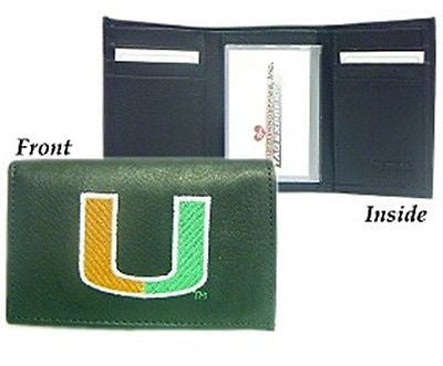 Miami Hurricanes Leather Men's Tri Fold Wallet